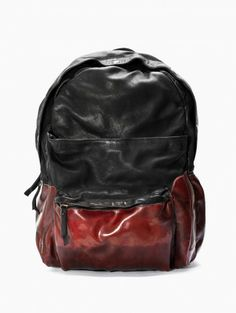 Leather backpack from the F/W2014-15 oXs Rubber Soul collection in black and red.