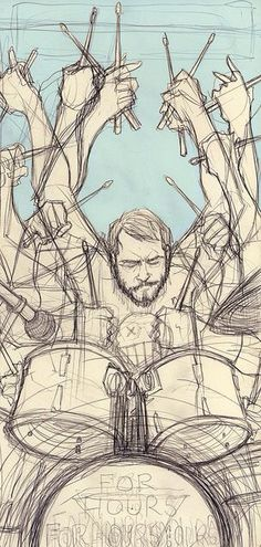 Drummer surreal drawing art arm many arms