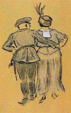 Heinrich Zille - Soldat mit Frau