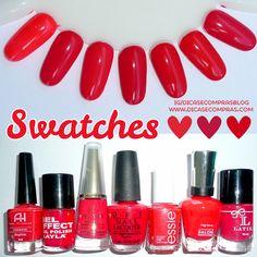 Dicas e Compras: Swatches de esmaltes vermelhos vivos e com brilho discreto