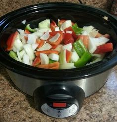 Crockpot Chicken Fajitas - cut 3 chicken breasts, 1 onion, and 3 bell peppers into strips. Add can of Rotel tomatoes or cube fresh tomato. Add Fajitas seasoning by McCormick and 1/3 cup water. Put lid on. Low for 8 hours. High for 4 hours. Easy and yummy!