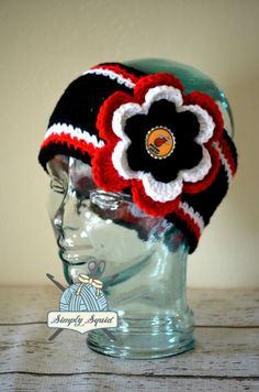 READY TO SHIP - Adult Miami Heat Inspired Flower Earwarmer Headband with Bottlecap Logo Center - Basketball by SimplySquid on Etsy
