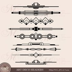 ClipArt von ART-DECO-HEADER: Header Akzent Clipart von MNINEDESIGNS Mehr More You are in the right place about art deco chandelier Here we offer you the most beautiful pictures about the … Arte Art Deco, Moda Art Deco, Estilo Art Deco, Graphic Pattern, Pattern Art, Download Art, Muebles Art Deco, Art Deco Stil, Inspiration Art