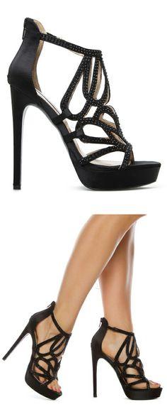 Black cut out sandals //