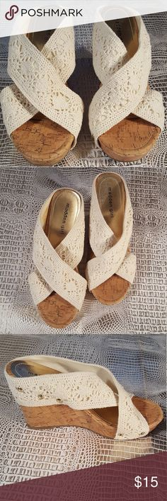 Madden Girl Nautic Crocheted Wedge Sandals Gently owned. Natural color. The right inside of shoe does have a spot which is shown in photos. Otherwise excellent condition. Wedge is 4 inches. Madden Girl Shoes Wedges