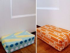 Fabric-covered brick as doorstop.  I'm totally going to do this - I even have a brick that my great-grandfather used to build my grandparents' house, and was stolen by my great uncle when the house was torn down just a few years ago.