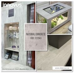 Hard to believe it is not concrete! Available as a decorative panel (laminate or melamine surfaced). More info & sample requests: http://innovus.co/