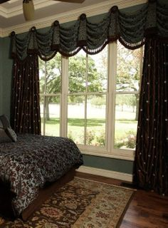 Green and brown window treatment