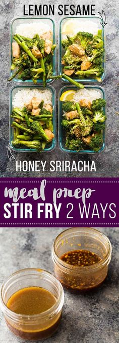 Prep this meal prep stir fry with two difference sauces (honey sriracha and lemon sesame) to get completely different flavors in your lunch! Prep them both in under 45 minutes.