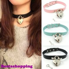 Safe Heart Real Leather Harajuku Handmade Punk Goth Locks Collar Necklace Choker