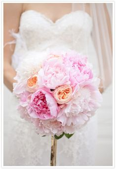 pink peony and peach david austin rose bouquet by lovely little details featured on @100 Layer Cake