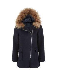 Navy Faux Fur Trim Hooded Biker Duffle Coat | New Look