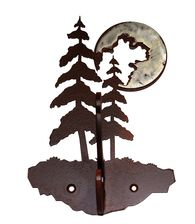 Pine Tree with a burnished moon Double Coat Hook, made here in the USA. Perfect for adding a rustic touch to home