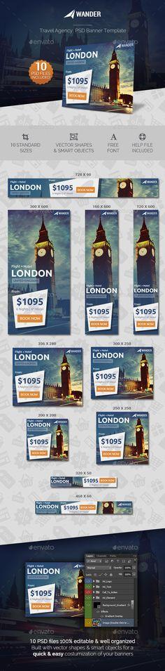 Wander - Travel Agency Banner Template PSD #ads