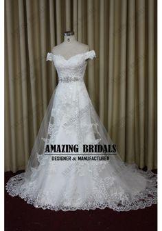 Beautiful Off-shoulder mermaid lace wedding dress wedding gown bridal dress