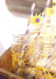 Golden Sun Straw Toppers with yellow string detail