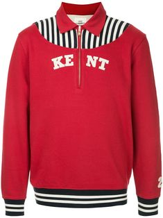 Red cotton printed sweater from KENT & CURWEN featuring a classic collar, a front zip fastening, a print to the front, long sleeves and a straight hem. Long Sleeve Tee Shirts, Red Sweaters, Size Clothing, Adidas Jacket, Sportswear, Women Wear, Prints, Cotton, Fashion Design