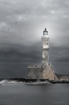 Lighthouse of Chania, Crete, Greece. One of the oldest lighthouses in the world