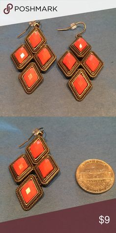 Gorgeous Earrings in Coral Gorgeous Earrings in Coral. Size compared to a Nickel. Jewelry Earrings