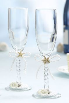 His and Her Beach Champagne Flutes