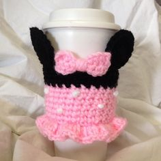 Minnie Mouse Inspired To-Go or Reusable Coffee Cup by YOmomknits Crochet Ideas, Crochet Hats, Coffee Cup Cozy, Reusable Coffee Cup, Cozies, Minnie Mouse, Beverages, Cold, Mugs