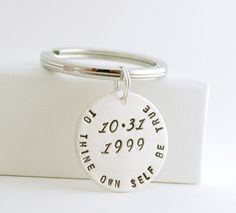 Sobriety Date Key Chain Custom Date Anniversary Recovery Gift Keychain Personalized Hand Stamped Sterling Silver