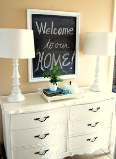 How to make a DIY chalkboard from an old picture frame and painted dresser.  The Frugal ......http://thefrugalhomemaker.com/2013/04/03/painted-dresser-makeover/