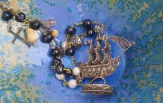 Ship  necklace Silver ship Ship Assemblage jewelry Funky Jewelry, Unusual Jewelry, Gothic Jewelry, Vintage Jewelry, Assemblage, Neck Piece, Coin Pendant, Geek Gifts, Diy Earrings