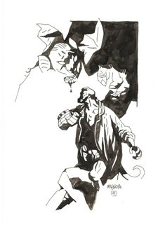 Mike Mignola - The Bride of Hell cover - alt, in Michael Radeke's 01 - Mignola, Mike - Covers & Book Plates Comic Art Gallery Room Hellboy Tattoo, Mike Mignola Art, Found Object Art, Comic Book Artists, Comic Books, Classic Comics, Science Fiction Art, Character Concept, 3d Character