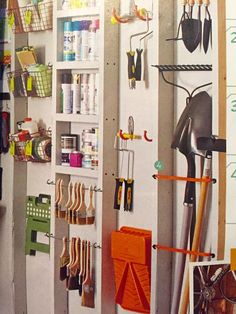 love these organizing ideas from Refresh magazine. Super shallow shelves for spraypaint, bungee cords to keep the shovels against the wall. And hanging the paint brushes?  I want to reorganize my garage immediately!