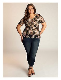 We brought two of-the-moment styles together on this must-have lace peplum top. Wear it over a pencil skirt for an atypical cocktail look, or over your favorite jeans on a casual day. sonsi.com