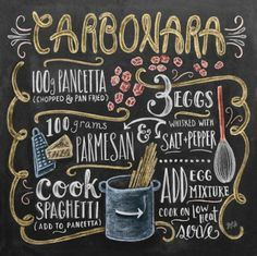 Diamond Painting Kit,Carbonara Diy Gift ,Chalk Drawing Full Drill Diamond Picture,Diy Kitchen Wall D Blackboard Art, Chalkboard Print, Chalkboard Lettering, Chalkboard Designs, Chalkboard Decor, Chalk It Up, Chalk Art, Pasta A La Carbonara, Lily And Val