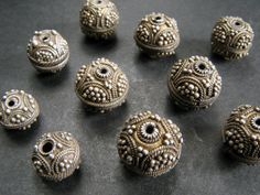 Ten old granulated silver beads from the moors of Mauritania. | 257$ ~ sold