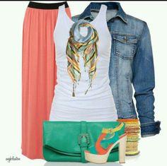 Jean jacket & long skirt