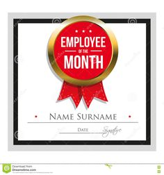 Free employee of the month template for employee recognition in employee award certificate template free templates design the month employee of the month certificate template stock vector image toneelgroepblik Images