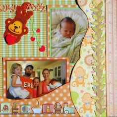 Baby Boy Scrapbook page with a Monkey from Create a Critter 2 Cricut cartridge.