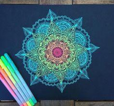 And videos from ( diy art, mandala drawing, mandala a Mandala Doodle, Mandala Art, Mandalas Drawing, Mandala Design, Doodle Art, Tumblr Tattoo, Pen Art, Zentangle Patterns, Zentangles