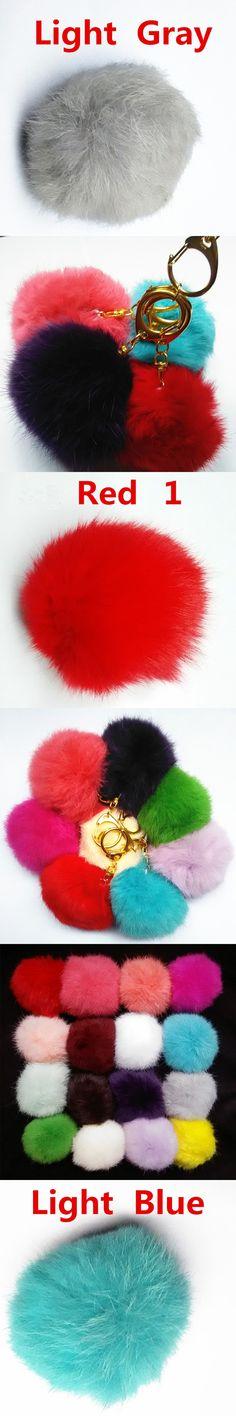 High Quality Rabbit Fur PomponBrand Bag Keychain D Buckle Car Keyring Rabbit Fur Ball Keychain Fur Brand Bag Charms Keychain