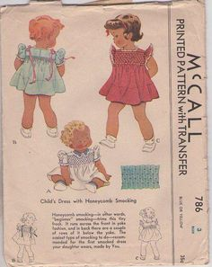 MOMSPatterns Vintage Sewing Patterns - McCall's 786 Vintage 40's Sewing Pattern GORGEOUS Toddler Girls Shirley Temple Style Ruffle or Shirred Sleeve Flared Smocked Dress, Ribbon Bows, Honeycomb Smocking Transfer Size 3