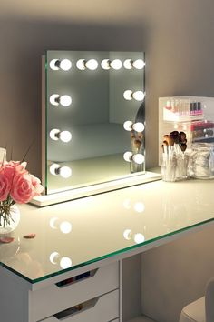 Table Top Hollywood Mirror, Makeup Vanity Mirrors with Lights - Illuminated Mirrors Hollywood Makeup Mirror, Makeup Vanity Mirror With Lights, Hollywood Mirror With Lights, Long Mirror With Lights, Dressing Room Mirror, Dressing Room Design, Dressing Area, Dressing Table Hollywood Mirror, Full Length Mirror Dressing Table