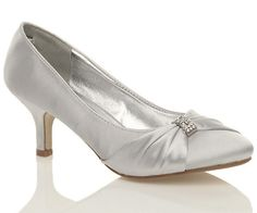 NEW WOMENS SILVER WEDDING BRIDAL LADIES PROM LOW HEEL BRIDESMAID EVENING SHOES
