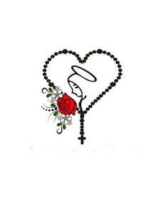 Doação de imagem para película de unha.: Dezembro 2015 Rosary Tattoo Wrist, Rosary Foot Tattoos, Mini Tattoos, Body Art Tattoos, Tatoos, Catholic Wallpaper, Catholic Tattoos, Jesus Drawings, Mary Tattoo