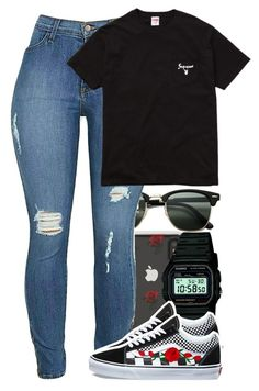 """Untitled #5913"" by rihvnnas ❤ liked on Polyvore featuring Ray-Ban, Sonix, Casio and Vans"