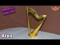 ♥ Tutorial: Arpa en 3D de Cartulina o Goma Eva (Foamy) ♥ - YouTube