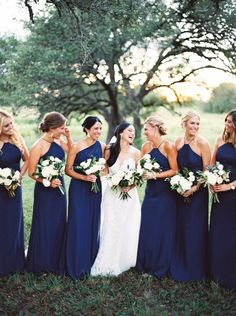 Long Navy Bella Bridesmaids Dresses