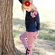 """Navy red and white striped """"city square"""" outfit"""