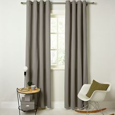 Buy John Lewis Cotton Rib Lined Eyelet Curtains, Mist, W167 x Drop 137cm Online at johnlewis.com
