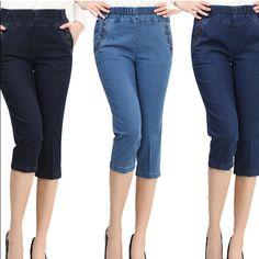 Womens summer ripped jeans Fashion boyfriend holes denim Capri for ...