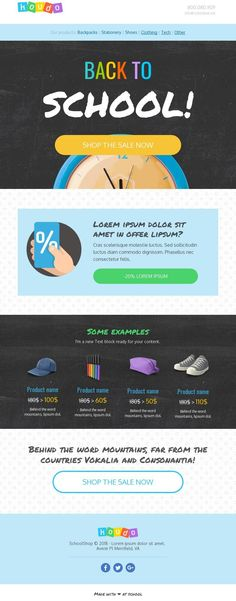 Professional Email Templates, Html Email Templates, Back To School Sales, Back To School Shopping, Bee Free, Email Design, Page Template, Peace Of Mind, Lorem Ipsum