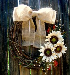 Fall Sunflower Wreath - Grapevine Wreath - Autumn but with yellow sunflowera